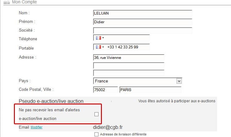 mes alertes e-auctions