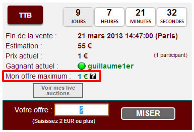 Mon offre maximum e-auction cgb.fr