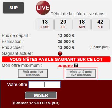 Ajouter à mes e-auctions cgb.fr